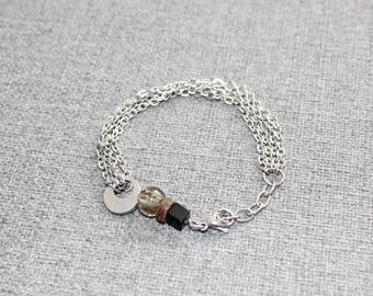 bijoux, bracelet, bracelet étain, bracelet verre, bracelet inox, bracelet argent, simple, minimaliste, gris, noir, bois, acier inoxydable