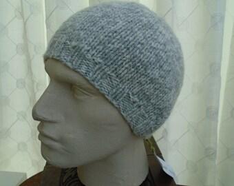ECO MARL pure wool knit hat cap beanie for men shades of GREY soft seamless an irish granny original