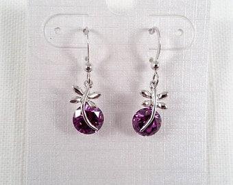 Silver Tone Dragonfly & Purple Cubic Zirconia Earrings