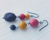 NEW YEAR SALE rosie loves punk - earrings - asymmetrical earrings, vintage Lucite and sterling silver