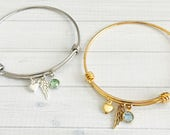 Memorial Bracelet - Angel Wing Bracelet - Angel Wing Jewelry - Memorial Jewelry - Remembrance Bracelet - Sympathy Gift - Birthstone Jewelry