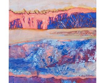 Abstract Landscape Original Painting, Winter Design, Modern Collage Art, Textured Collage Canvas, MixedMedia Art, Modern Wall Decor, 12 x 12
