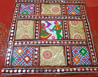 Kutch work hand embroidered fabric for Mats, Wall Hangings, Crafts