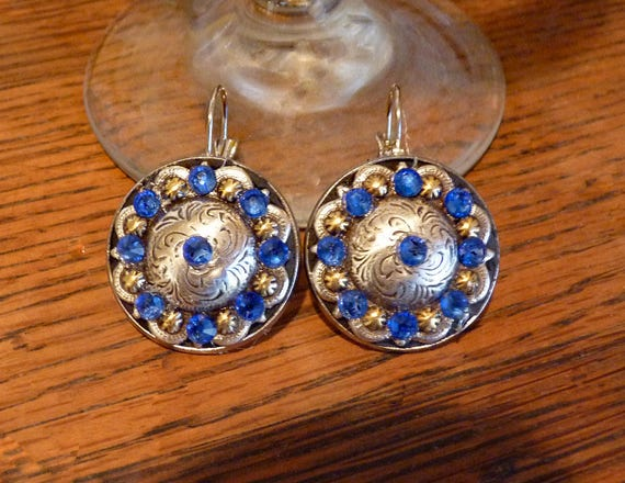 Western Concho Earrings with Blue Rhinestones