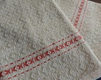 Handwoven Towel in Organic Foxfibre Green and Organic Natural with Handspun Organic Cotton -  Dish Towel Chefs Towel Highlight