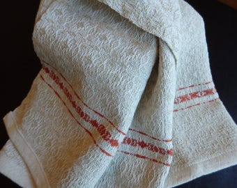 Hand Woven Towel in Organic Cotton with Handspun Cotton Highlight - Dish Towel Chefs Towel