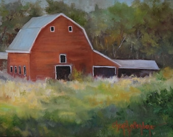 Barn Painting No1,Red Barn And Landscape,Original Oil On Canvas by Cheri Wollenberg