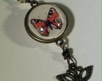 "Butterfly Necklace Image Pendant set in Brass Double Sided Tray with the word 'Joy"" on Back"
