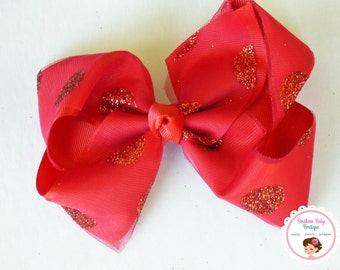 BOW BLOWOUT---X-Large 5.5 Inch Hair Bow---Red---Tulle with Glitter Dots Overlay