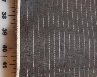 Vintage cotton blend Grey Pinstripe bottomweight 2-2/3yd