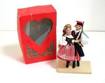 Vintage Polish Souvenir Folk Dolls in Original Box