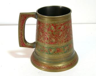 Vintage Enameled Brass Bohemian Mug with Glass Bottom