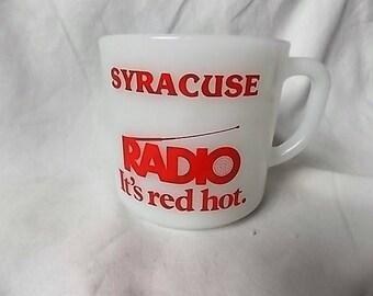 Vintage Anchor Hocking Syracuse NY Radio Advertising Mug  It's Red Hot