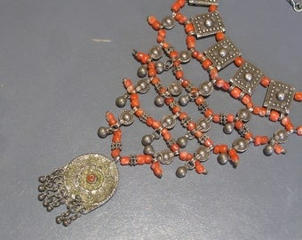 Old Silver Coral Bib Necklace . Yemen Silver . Middle East jewelry . Bedouin ethnic tribal necklace