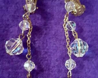 Stunning Vintage Long Dangling Crystal Earrings