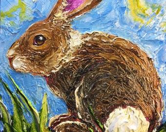 Bunny Rabbit  6x6 Inch Original Impasto Oil Painting by Paris Wyatt Llanso