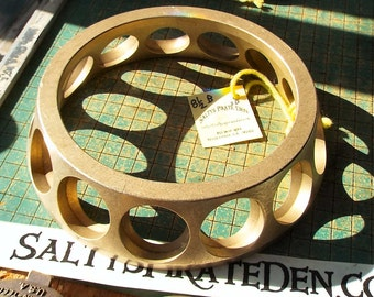 """Really Big Brass Bearing Cage, industrial steampunk doorstop, 8 3/8"""",  funnel shape, Single Row Ball Bearing, found art metal sculpture"""