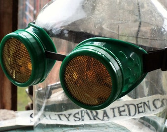 Steampunk Goggles, green frame, brass screen lens covers, welding, eye protection glasses, lightning pirate, cosplay, mad science supply
