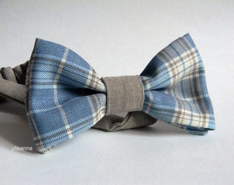 Men bow tie - Plaid bowtie - Italian bowtie - Pre tied bow tie - Made in Italy - Pale blue, beige, ivory.
