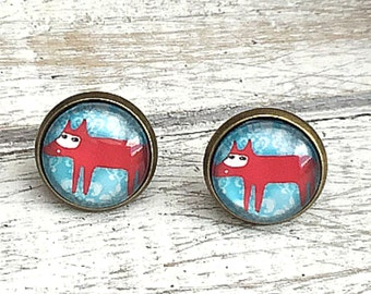 SALE Foxy Studs, Vintage Style Antique Bronze Studs, Gift for her, 14mm Studs, Small Gift, Thank You, Foxy Jewellery, Cute Fox Studs, Quirky