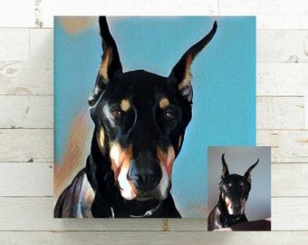 Pet Memorial - Custom Dog Portrait - Custom Cat Portrait - Pet Portrait - Gift for Animal Lover - Pet Loss Gift - Dog Lover Gift  Canvas Art