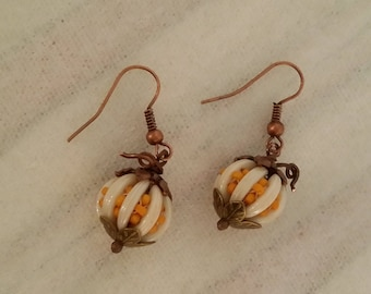 Hand Stitched Copper and Beaded Pumpkin Earrings