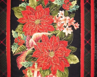 Quilted Wall hanging Red Poinsettia Wall art Asian black and red