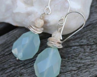 Chalcedony Earrings, Sterling Silver Earrings, Sea Blue Gemstone Earrings,