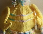 Hand Knit Toddler Hat, Mittens and Scarf