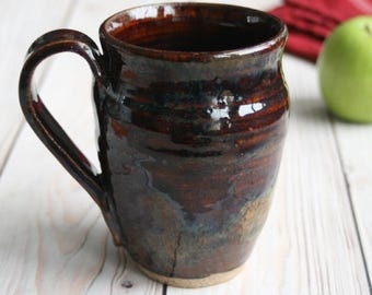 Handmade Rustic Stoneware Mug in Amber Brown Glaze Handcrafted Coffee Cup Ready to Ship Made in USA
