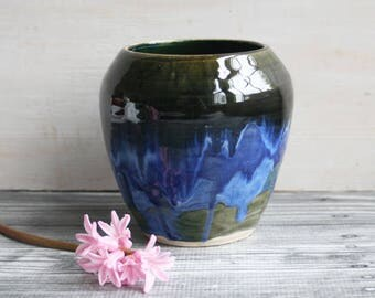 Handcrafted Stoneware Vase in Deep Olive and Indigo Glazes Made in USA Ready to Ship