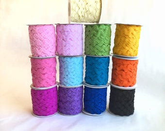 JUMBO RICK RACK, 5/8ths inch, 2 colors of Ric Rac, 25 yard spools, colors are buyers choice, 50yards total