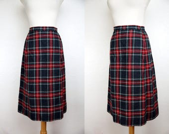 1960s Pendleton Plaid Skirt Pencil Wool Fitted Grey Red Small Medium Office Business Secretary