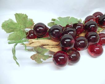 "vintage Lucite Grapes, red, 21 balls, translucent, 14"" long, vintage home decor, mid century"