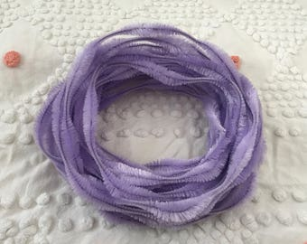 Vintage LILAC Bump Chenille Fuzzy Wire Stems - By The Yard - Pipe Cleaner - Hard to Find