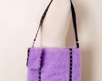 Purple Monster Fur Bag and Coin Pouch