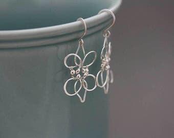 Sterling silver long chandelier earrings, Lily flower earrings, sterling silver boho earrings, dangle earrings