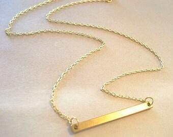 Gold Bar Necklace Trendy Necklace Bar Minimal Necklace Brass Bar Necklace Modern Necklace Jewelry Slim Long Bar Necklace