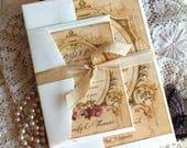 CUSTOM ORDER Deposit for hleigh348...Romantic Vintage Wedding Invitation Suite Handmade SAMPLE by avintageobsession on etsy
