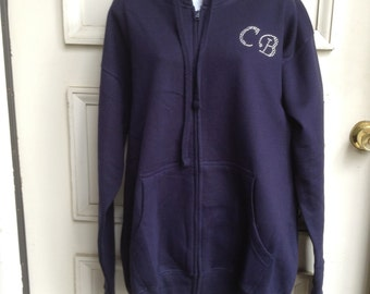 Personalized Heavyweight Zipper Hoodie with Crystal Initials