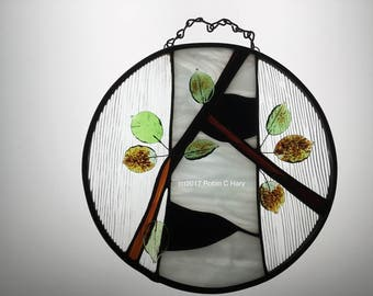 Birch Tree Circle Panel Suncatcher in Stained Glass