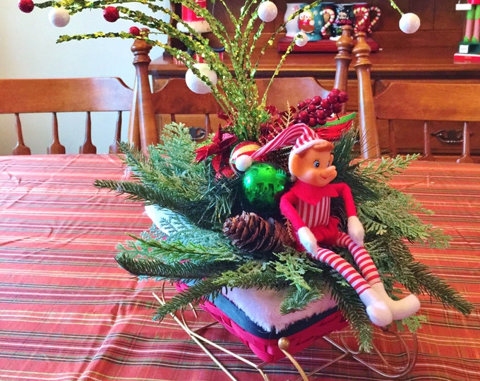 SALE- Santa Sleigh Elf  - Holiday Christmas Centerpiece Decor