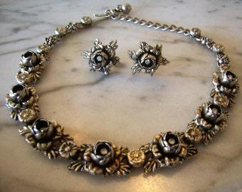 Vintage Demi-Parure Necklace Earrings Set Silvertone