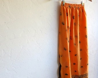 30% off SPRING SALE Orange Hawaiian Print Skirt