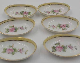 Set of Six (6) Butter Pats - Tea Bag Holders - Vintage - Porcelain - Hand Painted - Nippon 1930 Era - Pink Roses - Shabby Cottage - Charming