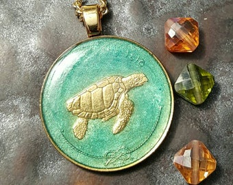 Maldives - Turtle Coin Pendant - Hand Painted