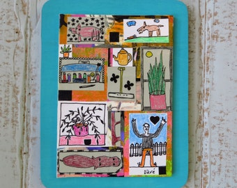 Collage, Folk Art, Mixed Media, Original