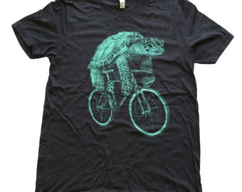 Sea Turtle on a Bike- Mens T Shirt, Unisex Tee, Tri Blend Tee, Handmade graphic tee, Bicycle shirt, Bike Tee, sizes xs-xxl