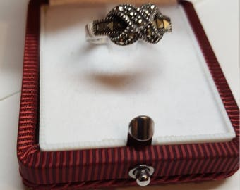"""Vintage  Gothic and Renaissance Ring   Marcasites  Size 5 1/2  and is 925 Sterling SIGNED 925 Wide 3/8"""" with X Hugs Love Knot"""