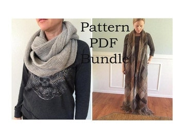 2 PATTERN PDF Bundle - Alsace Herringbone Cowl and Starflower Super Scarf PDF patterns - Easy Knitting Patterns - Instant Download